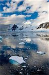Mountains and icebergs on the Antarctic Peninsula, Antarctica, Polar Regions