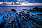Twilight on the rocky ledges at Sandymouth in Cornwall, England, United Kingdom, Europe