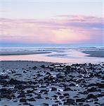 Rocks littering sandy beach