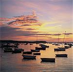 Empty boats in still harbor at sunset