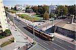 Scène de rue avec un tramway, tilt-shift, Berlin, Allemagne