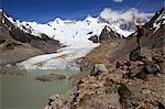 A trekker viewing Laguna Torre, Grande Glacier, Cerro Torre, Glaciers National Park, El Chalten, Patagonia, Argentina