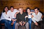 Portrait of three generations Hispanic family