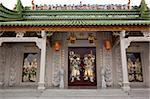 Facade with the door gods at Shi-Keng Court, Chaoshan, China