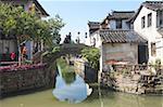 Stone bridge on canal, Zhouzhuang, Kunshan, Jiangsu Province, China