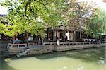 Quai pour bateau touristique sur le canal, de la vieille ville de Zhouzhaung, Kunshan, Jiangsu Province, Chine