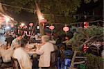 Local restaurant, old town of Xitang at night, Zhejiang, China