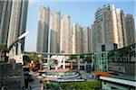 Luxurious apartments and Civic Square at Kowloon West, Hong Kong