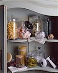 jars on shelves