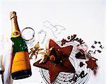 Schokoladenkuchen und Champagner