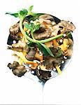 Chanterelle mushrooms on skimmer