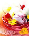 Cerise, pistache et sorbets vanille