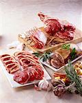 Raw lamb chops and leg of lamb