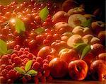 white nectarines, peaches, cherries and raspberries