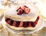 Heart-shaped strawberry cream cake