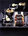 Risotto aux truffes, de bacon et de graines de pavot Saltimbocca, oeufs de caille et oeufs de lompe