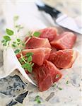 Raw pork for sauté