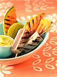 thon grillé et brochettes de melon