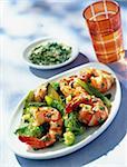 Salade de crevettes marinée de basilic