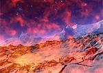 Alien planet, computer artwork.