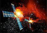 Éruption solaire frappant satellite, oeuvre de l'ordinateur.