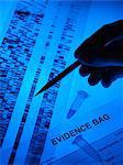 Forensische Beweise. DNA-Proben, Autoradiogram und Beweise-Tasche.