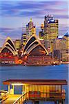 Australia, New South Wales, Sydney, Sydney Opera House, Passenger Pier at dusk