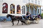 Europe, Belgique, Flandre, Bruges, cheval et chariot pour les touristes, la vieille ville, patrimoine mondial de l'UNESCO