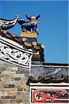 Roof of Tang Chung Ling Ancestral Hall, Tsz Tong Tsuen village, Fanling, New Territories, Hong Kong, China
