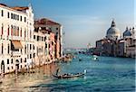 View over Grand Canal towards Basilica di Santa Maria della Salute from Accademia Bridge, Venice, Veneto region, Italy