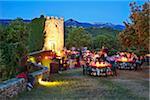 Italy, Lazio, Rieti District, Labro, 'calici sotto le stelle' festival, 'glasses under the stars'.