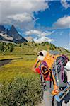 L'Europe, l'Italie, les Alpes, randonneur sur le Tour du Mont Blanc, Val Veny, près de Courmayeur, (MR)