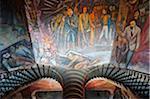North America, Mexico, Michoacan state, Morelia, murals and staircase at Palacio de Gobeierno