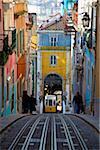 Elevador da Bica, elevator, tram, funicular between Tejo and Bairra Alto district, historic centre of Lisbon, Lisboa, Portugal, Europe