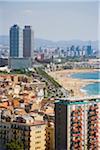 Panoramique de Barcelone depuis Sant Sebastia tour à Barceloneta, Barcelone, Catalogne, Espagne