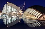 Europe, Spain, Valencia, Príncipe Felipe Science Museum and Hemisferic reflection.