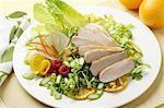 Plate of pork and salad