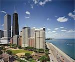 John Hancock Building & Condos on Lake Shore Drive with Lake Michigan, Chicago, Illinois, USA. Architects: John Hancock