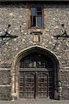 Side door to King's College (Public School), Canterbury, Kent, England