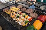 Burgers et les brochettes sur la grille du Barbecue