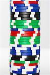 Stack of gambling chips, close-up