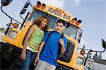 Teenagers by School Bus
