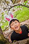 Boy wearing bunny ears
