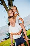 Outdoor portrait of three young children