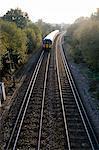 Double railway tracks, Surrey, England, United Kingdom, Europe