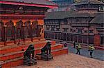 Stone lions of Durbar Square, Kathmandu, Nepal, Asia