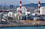Gas-Lagertanks im Hafen von Barcelona, Katalonien, Spanien, Europa
