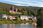 The Mittelburg (Middle Castle) and Neckar River, Neckarsteinach, Hesse, Germany, Europe
