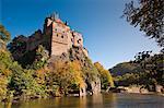 Kriebstein château et la rivière Zschopau, Saxe, Allemagne, Europe