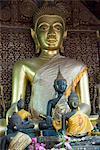 Sitting Buddha in the Main Temple, Wat Xieng Thong, UNESCO World Heritage Site, Luang Prabang, Laos, Indochina, Southeast Asia, Asia